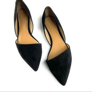 JCrew Black Suede D'orsay Pointy Toe Flats